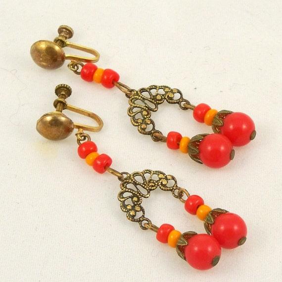 Vintage Mexicali Earrings 1950s Drop Dangle Red Orange Screw Backs