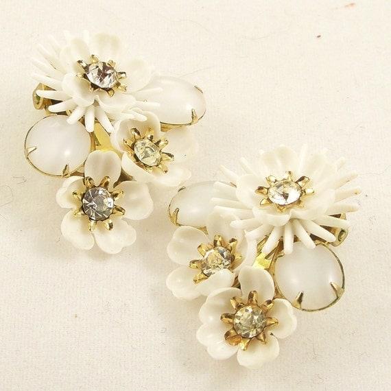 Vintage 1960s Earrings Mad Men Rhinestone Coro Flowers Clip Ons