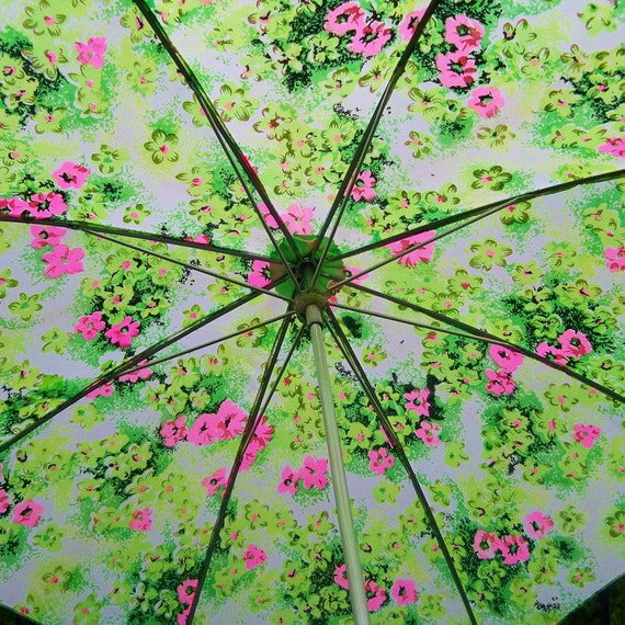 Vintage 1960s Umbrella Pink Green Flowers Girls