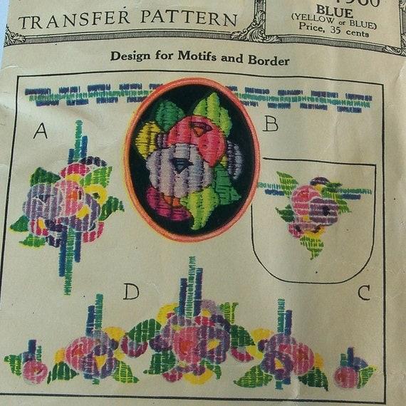 Vintage 1920s Transfer Patterns McCall Kaumagraph 1560 Flower Motif