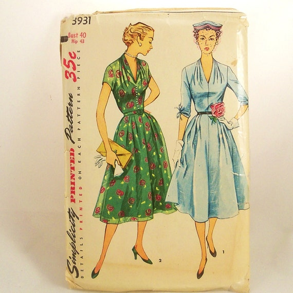 Vintage 50s Summer Dress Pattern Simplicity 3931 Bust 40