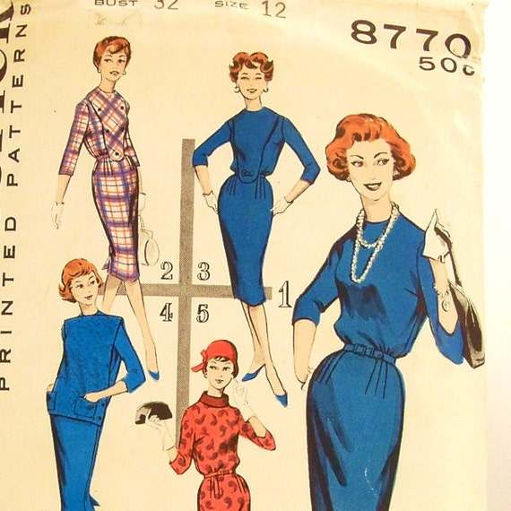 Vintage 1960s Dress Pattern Butterick 8770 Size 12 Bust 32 Collar Variations