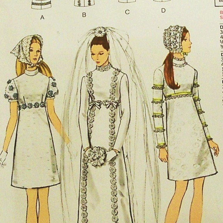 Vintage 1960s Wedding Dress Pattern Vogue 2316 Size 12 Bust 34