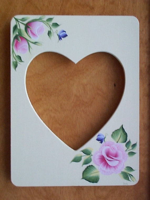 Heart Shaped Wood Picture Frame - Floral Frame - Hand painted
