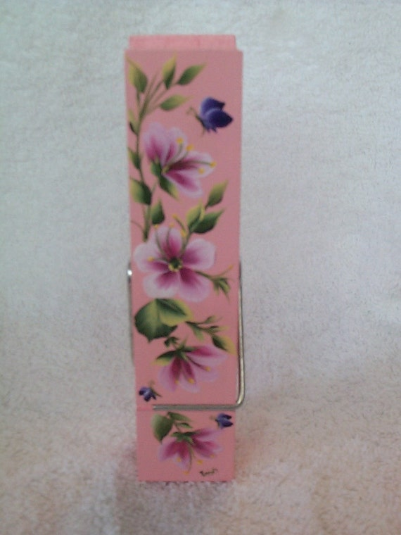 REFRIGERATOR MAGNET - 6 Inch Clothes PIn Clip - Holder - Hand Painted
