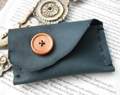 Green Leather Business Card Case