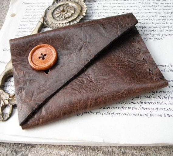 Leather Wallet/case  -  in chocolate brown