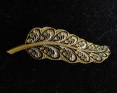 Victorian Enameled Leaf Pin