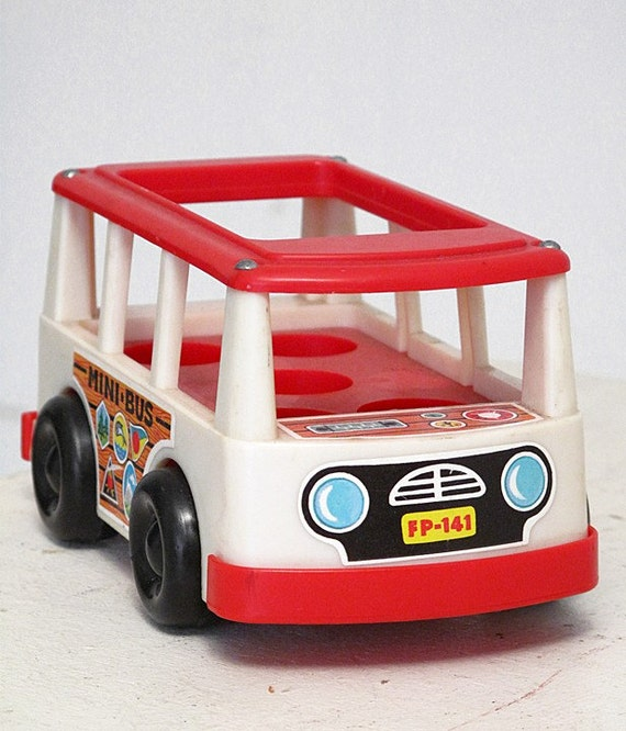 Fisher Price Mini Bus 1969 Red Toy Car Vintage School Reduced