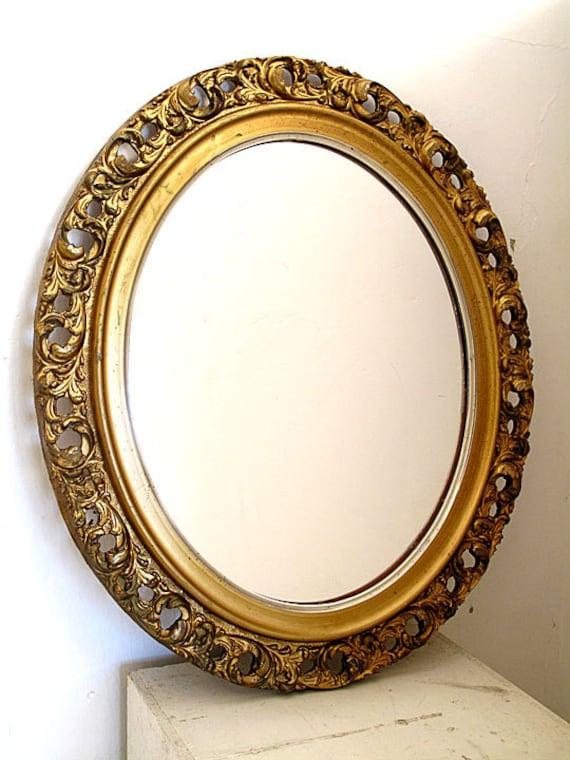 Vintage Wood Carved Oval Gold Mirror Gilded Leaf