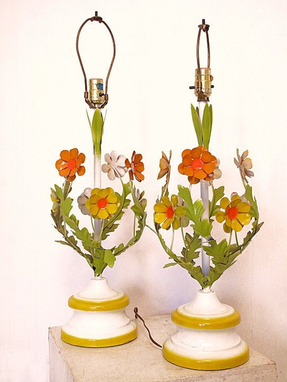 Vintage 70's Tole Lamps TALL
