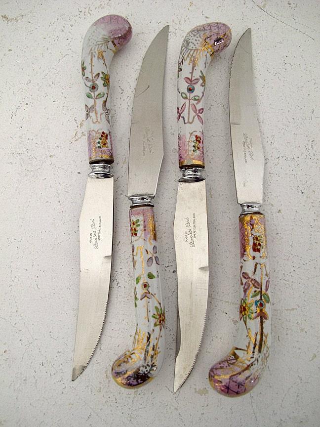 Vintage Porcelain Handle Sheffield Steak Knives Set Of 4