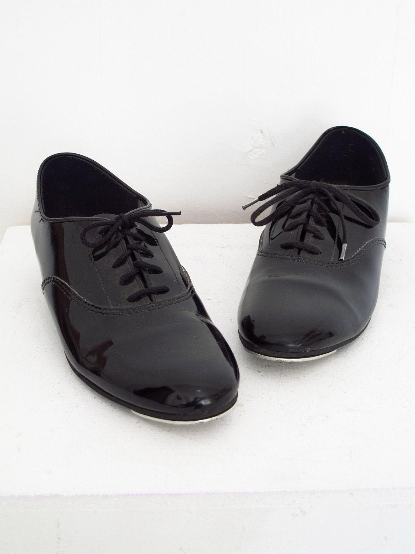 capezio mens black patent leather tap shoes size 9 5
