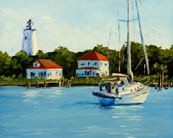 Harbor Parking - Oil Painting - 11x14in Print