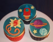 Space Theme Fondant Cupcake Toppers