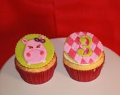 Pink Hippo Fondant Cupcake Topper