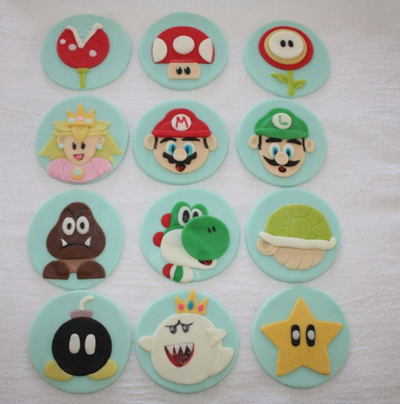 Super Mario Brothers Inspired Fondant Cupcake  Toppers