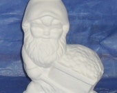 Garden Gnome - Gnome Pushing a Cart - Do It Yourself Ceramic Bisque . Fun craft idea. Made to Order.