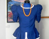 Vintage 1960s ACT 1 navy blue and white fitted Mad Men linen dress, back bow, rouched sleeves, ruffle waist