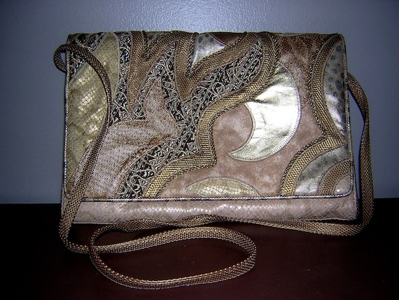 SALE - Vintage new 1980's SHARIF leather, suede, snakeskin, tapestry, & mixed media cross-body purse