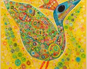 Yellow Bird with Flowers -- Print on Stretched Canvas