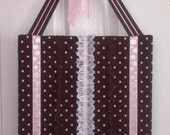 Brown w/Pink Dots Hair Clip and Headband Organizer - 15 1/4 Inch
