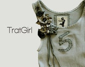 Tank Gray Top Beater Tank Hand Dyed Side Corsage Embroidered Number s m l or xl  By TratGirl