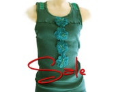 Womans Tank Final Sale Green Embroidered Large Only By TratGirl