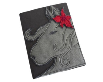 removable book cover/horse whimsical gray/teachers gift giving notebook/diary memories keepsake
