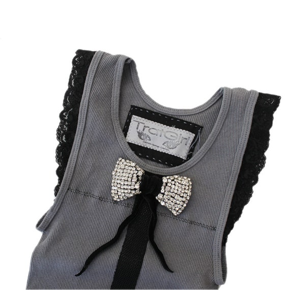 Womens top small gray rhinestone bow lace by tratgirl