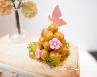Dollhouse Miniature Food Croquembouche with Butterfly  in 1/12 Scale
