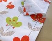 linen cotton Tea Towel & Coaster in orange Flower print