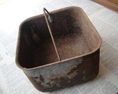 Vintage Metal Bucket - Basket - Tote