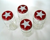 Red and White Stars Americana Vintage Glass Coffee and Canning Jars