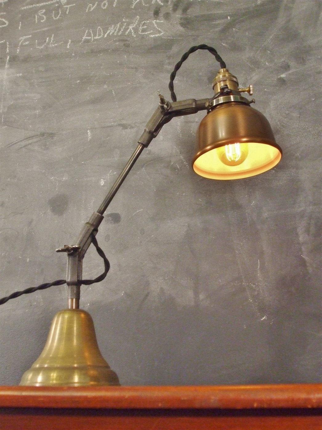 Vintage industrial desk lamp machine age task light cast for Industrial design table lamps