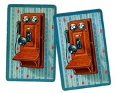 2 OLD FASHIONED TELEPHONES Single Swap Vintage Playing Cards