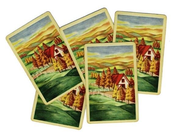 FARM SCENE (5) Vintage Single Swap Playing Cards Paper Ephemera Scrapbooking