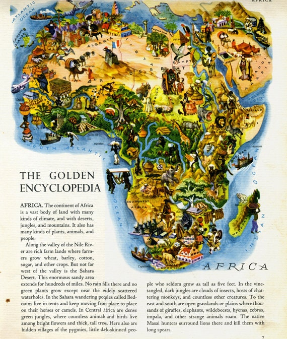 AFRICA CONTINENT Vintage Children's Giant Golden Encyclopedia Page, Deluxe Edition (1946)