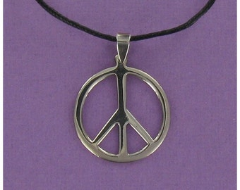 Large Peace Sign Necklace - 925 Sterling Silver on Black Cord with Design-it-Yourself Gift Card