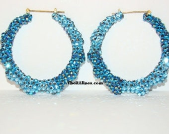 Swarovski Crystal Bamboo Hoop Earrings - Denim -  Half Off Edition