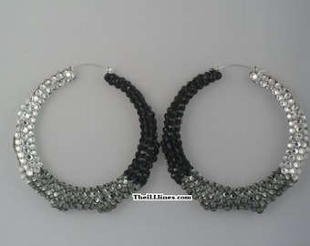 Swarovski Crystal Bamboo Hoop Earrings - Cookies and Cream -  Half Off Edition