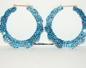 "3"" Swarovski Two-Color Blue Jean Bamboo Earrings"
