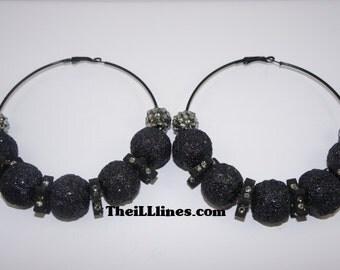Basketball Wives Inspired Earrings Triple Black Threat