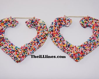Candy Sprinkle Collection Heart Bamboo Earrings   Buy 1 Get 1 Free & Free Shipping