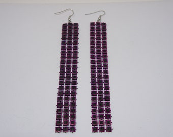 New 2015 Style 5 Inch Pink and Black Dangling Earrings
