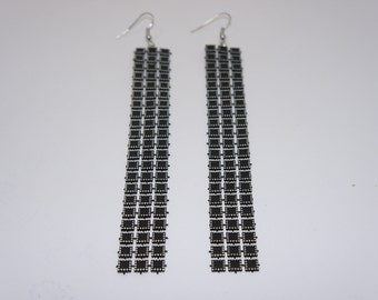 New 2017 Style 5 Inch Silver and Black Dangling Earrings