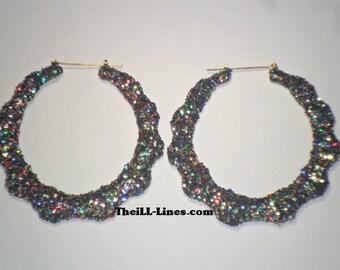 Bamboo Hoop Bling Bling Earrings Multi-Colored