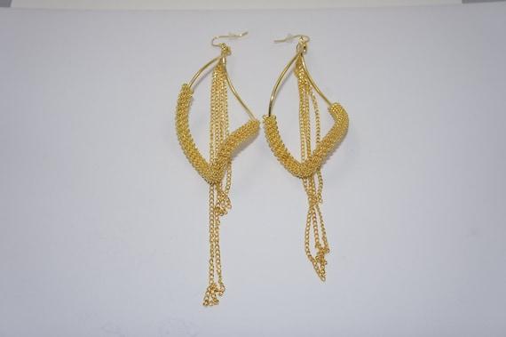 3 1/2 Inch Gold Chain Earrings