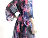 Kimono Robe in Floral Design Night Sexy Gift for Her Honeymoon Nightgown Pajamas Loungwear Lingerie Bridal Shower Bridesmaid Robes