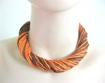 Silk Necklace in Orange and Brown
